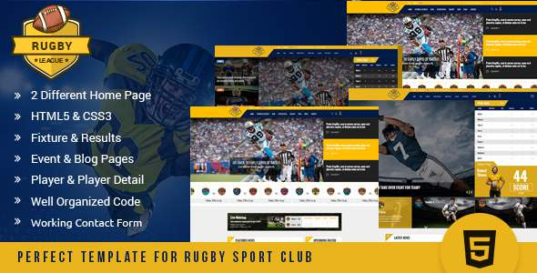 Rugby League HTML Template – Nonprofit Site Templates TFx Nur Riley