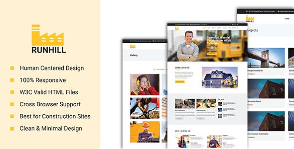 Runhill - Powerful Minimal Construction HTML Template - Business Corporate TFx Kimball Albert