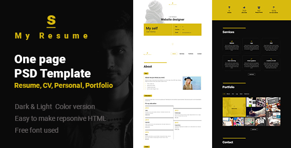 S - Resume, Cv, Portfolio One Page PSD Template - Personal PSD Templates TFx Isi Egbert