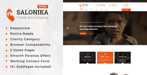 Salonika - Responsive HTML Template for Charity & Fund Raising - Charity Nonprofit TFx Forest Cheyenne