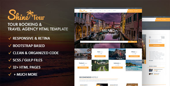 ShineTour - Tour Booking & Travel Agency HTML Template - Travel Retail TFx Smith Darnell