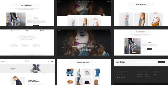 Shopify Theme - Scara - Responsive Drag & Drop - Fashion Shopify TFx Harmon Derryl