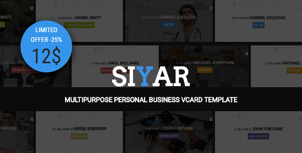 Siyar - Multipurpose Personal Business VCard + Builder TFx Edison Swithin