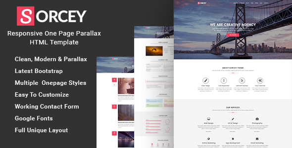 Sorcey - Responsive One Page Parallax HTML Template - Creative Site Templates TFx Kynaston Jep