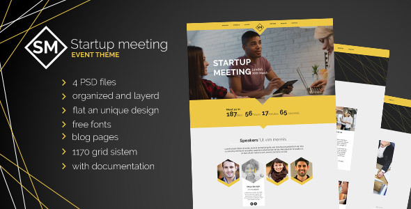 Startup Meeting - Event Website PSD Template - Business Corporate TFx Vedastus Xander