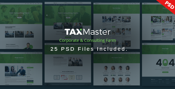 TAXMaster - Tax, Finance, Consulting & Corporate PSD Template - Corporate PSD Templates TFx Egbert Vortigern