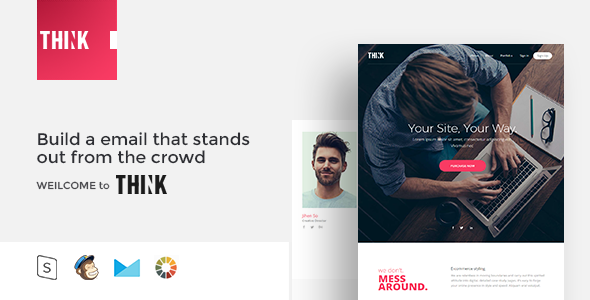 THINK – Responsive Email Template Minimal – Email Templates Marketing TFx Felix Denzel