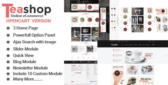 TeaShop Multipurpose OpenCart Template – Shopping OpenCart TFx Gabriel Cassidy