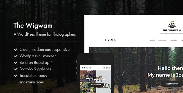 The Wigwam – A Responsive Photography WordPress Theme – Photography Creative TFx Sulaiman Austyn