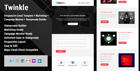 Twinkle - Responsive Email Template + Campaign Monitor + Mailchimp + Stampready Builder - Email Templates Marketing TFx Gevorg Denzel