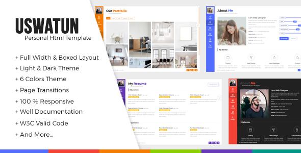 Uswatun - Personal Resume/CV/Portfolio HTML Template - Personal Site Templates TFx Avedis Vosgi