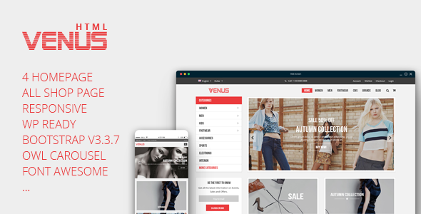 Venus - Tshirt Shop Responsive eCommerce Template - Fashion Retail TFx Bleda Maquinna