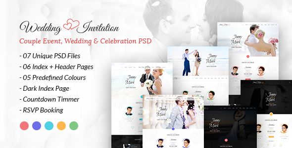 Wedding Invitation - Couple Event, Wedding & Celebration PSD Template - Events Entertainment TFx Kadek Kegan