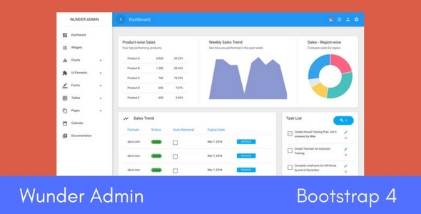 Wunder Bootstrap 4 Admin Template TFx SiteTemplates Ralph Earl