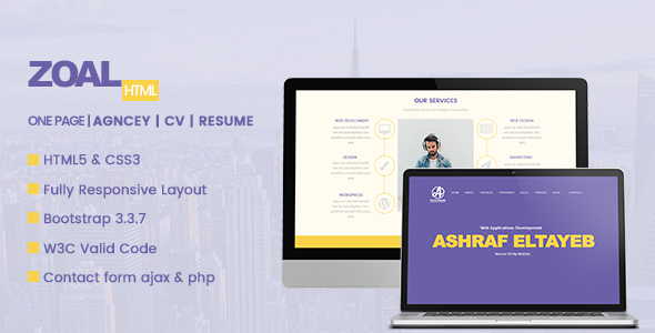 Zoal One Page HTML Template - Resume / CV Specialty Pages TFx Kaoru Mitch