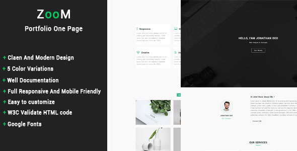 ZooM - Portfolio One Page Template TFx SiteTemplates Freeman Harvey
