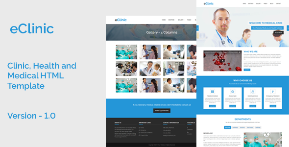 eClinic – Clinic, Health and Medical HTML Template – Retail Site Templates TFx Don Cortney