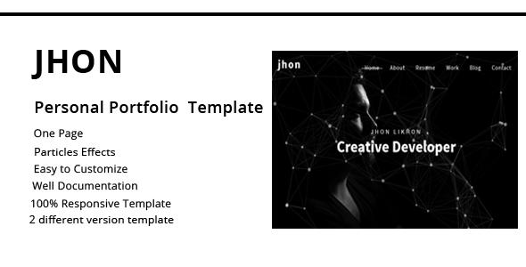 jhon - Personal Portfolio Template - Portfolio Creative TFx Brock Don