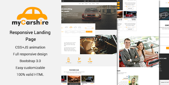 myCarshire – Car, Driving & Automobile One Page Template – Business Corporate TFx Nur Ohannes