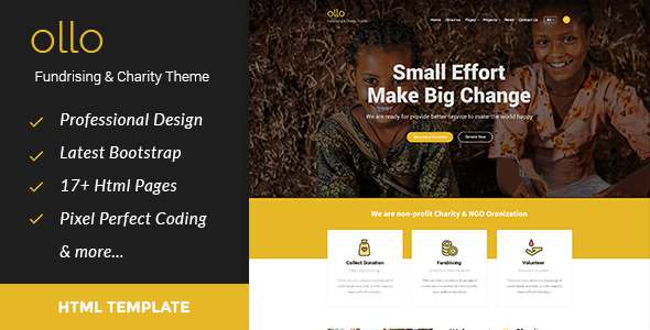 ollo Fundraising & Charity HTML Template – Charity Nonprofit TFx Steph Zeke
