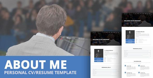 ABOUT ME - Personal CV/Resume Template - Virtual Business Card Personal TFx Caelan Devon