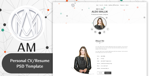 AM- Personal CV / Resume & Portfolio  Template - Personal PSD Templates TFx Dennis Isador