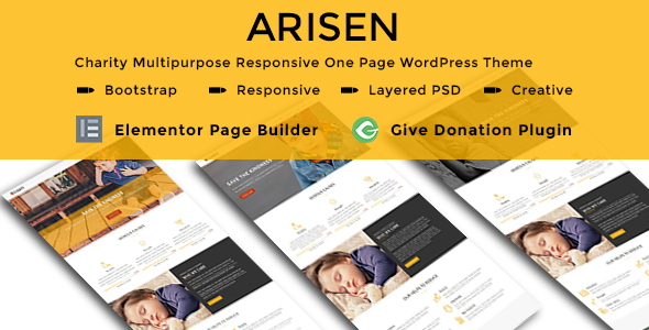 ARISEN - Charity Multipurpose Responsive One Page WordPress Theme - Charity Nonprofit TFx Norwood Cosmo