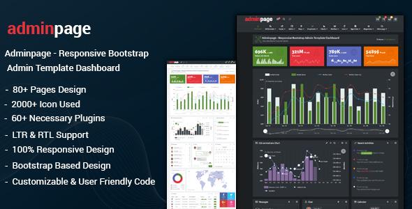 Adminpage - Responsive Bootstrap Admin Template Dashboard - Admin Templates Site Templates TFx Tobias Aleksandr