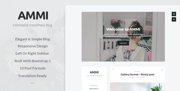 Ammi – Minimalist WordPress Blog – Personal Blog / Magazine TFx Slamet Aputsiaq