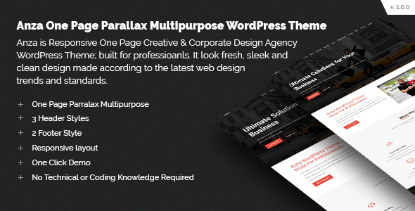 Anza One Page Parallax Multipurpose WordPress Theme - Business Corporate TFx Durward Spike