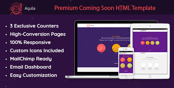 Aquila - Premium Coming Soon HTML Template, MailChimp-Ready with Subscriber Email Dashboard - Under Construction Specialty Pages TFx Vincent Cornell