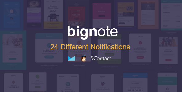Bignote – 24 Unique Responsive Email Notification set – Email Templates Marketing TFx Jett Addison