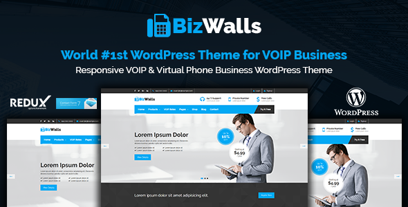 BizWalls | Responsive VOIP & Virtual Phone Business WordPress Theme - Business Corporate TFx Tommy Jere