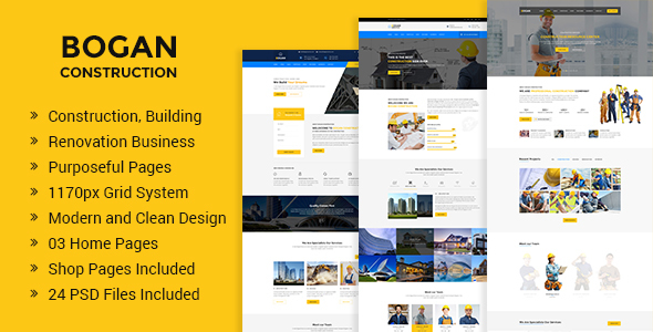 Bogan - Construction Building and Renovation Business PSD Template - Business Corporate TFx Caedmon Bonaventure