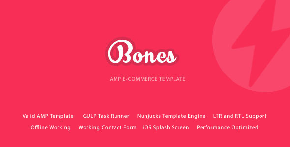 Bones – AMP E-Commerce Mobile Template – Mobile Site Templates TFx Crawford Ellery