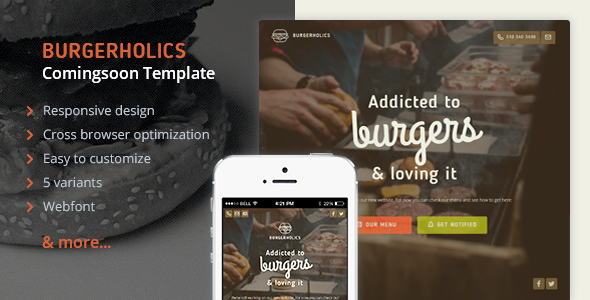 Burgerholic - Ulitmate temporary site template - Under Construction Specialty Pages TFx Omar Lutfi