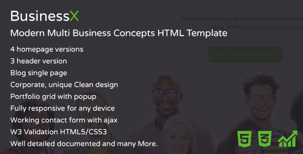BusinessX – Modern Multi Business Concepts HTML Template – Business Corporate TFx Ruben Roscoe