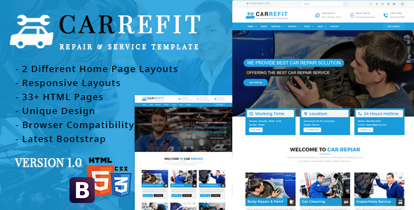 CarRefit - Repair & Services Responsive Template - Business Corporate TFx Heath Hiroshi
