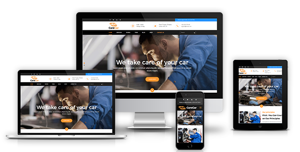 CareCar - Auto Mechanic Workshops for Car Care, Repair & Wash Template - Corporate Site Templates TFx Perry Linden