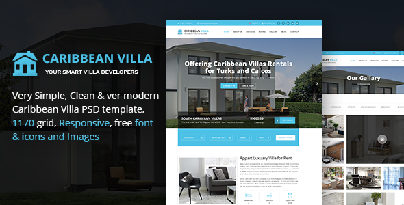 Caribbean Villa - hotel, resort, villa and business PSD Template - Corporate PSD Templates TFx Mega Maximillian