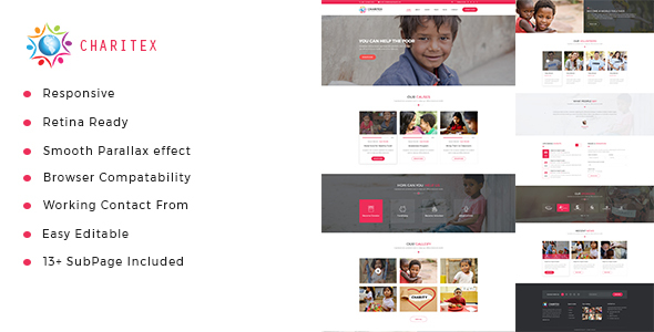 Charitex | Charity Non-Profit HTML5 Template - Charity Nonprofit TFx Shelby Koby