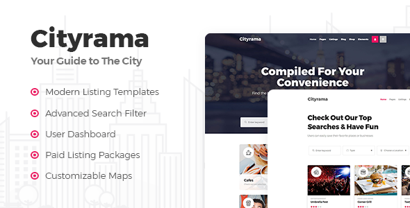 Cityrama - A Local Listing and City Guide Theme - Directory & Listings Corporate TFx Burke Derryl