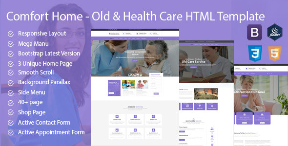 Comfort Home - Old & Health Care HTML Template - Health & Beauty Retail TFx David Angel