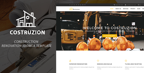 Costruzion | Construction Renovation Joomla Template - Portfolio Creative TFx Blaze Katsurou