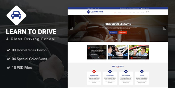 Driver - Learn to Drive, Driving School, Driving Lessons, Business & Services PSD Template - Business Corporate TFx Kaolin Pierce