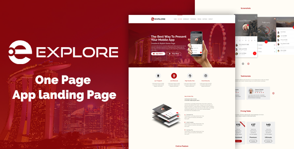 EXPLORE - One Page App Landing Template - Technology Site Templates TFx Ibrahim Justinian