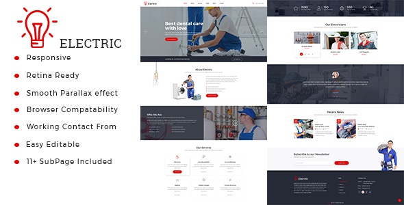 Electric : Electrician & Repairing HTML Template - Business Corporate TFx Tristan Maitland