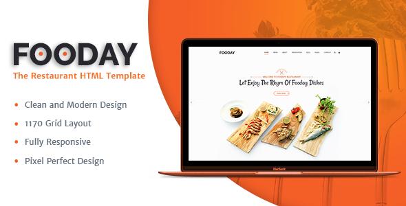 Fooday -  Restaurant HTML Template - Restaurants & Cafes Entertainment TFx Gareth Merlyn