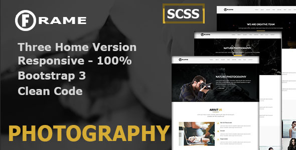 Frame Photography Onepage Bootstrap Template - Photography Creative TFx Randall Junior