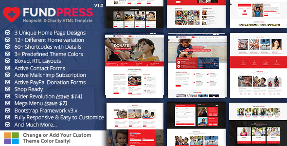 FundPress – Nonprofit, Crowdfunding & Charity HTML5 Template – Charity Nonprofit TFx Manny Bryce